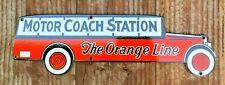 """VINTAGE MOTOR COACH STATION The Orange Line 19.5 x 6"""" PORCELAIN ENAMEL SIGN"""
