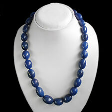 MOST EXEBURENT 704.00 CTS NATURAL BLUE SAPPHIRE OVAL SHAPED BEADS NECKLACE $$$