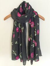 LADIES LOVELY GREY WITH PINK ROSE FLORAL EMBROIDERED SCARF WRAP
