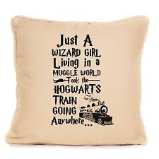 FLC Gifts Harry Potter Quote Pillow Just a Wizard Girl Living in a Muggle World