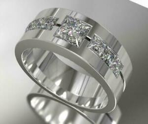Men's Band 14K White Gold Engagement Wedding Ring Special Occasion 2.3Ct Diamond