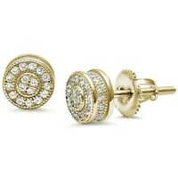 Exquisite White Sapphire Stud Earrings w/Screw Back - 14k Yellow Gold/Sterling