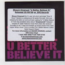 (FS252) Shawn Emanuel, U Better Believe It - 2006 DJ CD