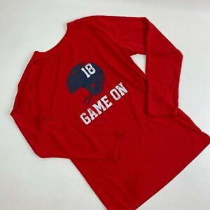 Cherokee Boys Pajama Shirt L 12-14 Long Sleeve Loungewear Sleepwear Football Red