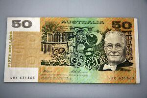 AUSTRALIAN FRASER COLE $50 DOLLAR PAPER NOTE Prefix Wrk 631863