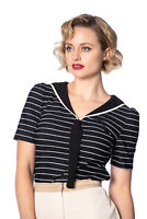 Women's Black Retro 50s Vintage Rockabilly Pier Stripe Jersey Top Banned Apparel