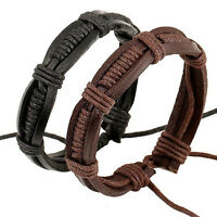 Fashion Unisex Black Brown Punk Leather Weaved Bangle Cuff Bracelet Wristband