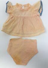 "Vintage Doll Peach & Blue Dress & Matching Underwear Clothing 7 1/2"" Long"