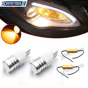 2x Amber High Power 3156/3157 LED Turn Signal Light Bulbs w/50W 6Ohm Resistors