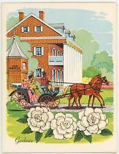 VINTAGE GARDENIA FLOWERS HORSE HOUSE PRINT SWEET POTATO PONE YAMS RECIPE CARD