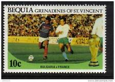 1986 FIFA World Cup MEXICO Bequia St. Vincent Grenadines Stamp BULGARIA - FRANCE