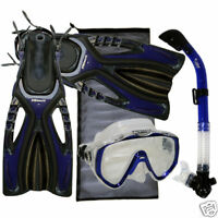Snorkeling Dive Mask Dry Snorkel Fins Gear Package Set