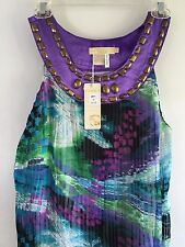 Michael K Haute Couture green blue purple  Dress  NWT S embellished sleeveless