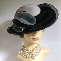C & A Vintage 1990s Hand Made Black & Grey Dress Hat Wedding Derby Church Races