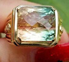 Beautiful Bi Peach Green Cushion Diamond 18k yellow gold ring/band