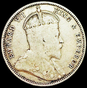 STRAITS SETTLEMENTS -BRITISH CROWN COLONY -EDWARD VII - 20 CENTS 1902 SILVER #A7