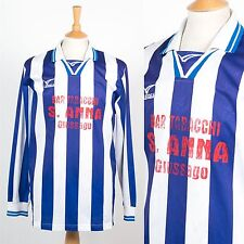 MENS VINTAGE 80'S BLUE WHITE STRIPED FOOTBALL SHIRT SOCCER JERSEY LONG SLEEVE L