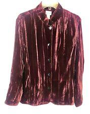 CHICOS Soft silk blend Crushed Velvet Button Down shirt Jacket Wine Colored SZ L