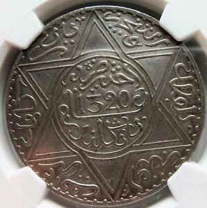 MOROCCO 10 dirhams Rial 1902 AH 1320 NGC UNC Details