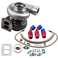 Gt45 V-Band T4 Flange Turbo Charger 600+Hp + Oil Drain Feed & Return Line kits