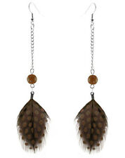 F3358F Brown Feather Earrings Cute Bead Chain Dangle Eardrop Jewelry
