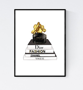 Fashion Books With Perfume Print - Bedroom Wall Art, Fashion Print, Glam Decor