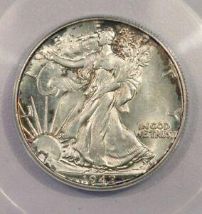 1942-P 1942 Walking Liberty Half Dollar 50c ANACS MS64 Hint of beautiful color!