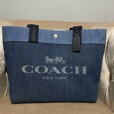NWT Coach 91131 Horse and Carriage Large Denim Canvas Tote Bag Handbag Blue Pink