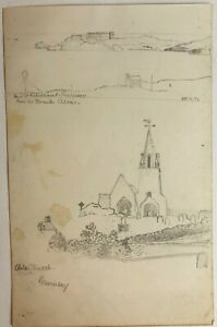 Vintage Pencil Drawing Sketch Landscape Vale Church Fermain Bay Guernsey Art