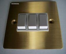 Brushed Brass Victorian Gold Triple Light Switch Flat Plate 2 Way 10ax DEC0183