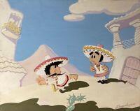 Tempera Favola Scena Due Männer Messico Sombrero Latino Comic Moderno