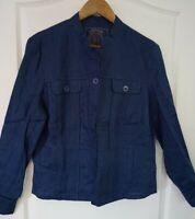 Coldwater Creek Blue Lightweight Linen Jacket Ribbon Detail Sz 14 NWT