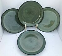"Set (4) Rave Green by Home Trends DINNER PLATE 10 3/8"" EUC"