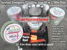 12 PK Mini Green FIRE STARTER DISK- 60 Min. Incl: SS Folding Stove & Ferro Rod