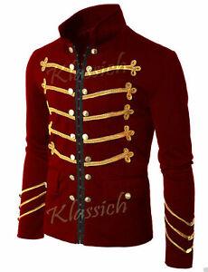 Men's Unique Modern Golden Embroidery Red Velvet Military Napoleon Hook Jacket