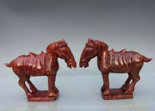 "7"" China Handwork Red Stone Jade Tang Horse Fengshui Animal Statue Sculpture"