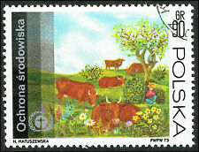 Scott # 1988 - 1973 - ' Human Environment Emblem & Grazing Cows '