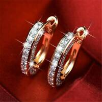 Fashion 18K Gold Filled CZ Sapphire Ear Stud Earrings Hoop Women Jewelry Gifts
