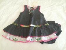 CATIMINI Baby Girls 3m DENIM RUFFLE DRESS W/MATCHING BLOOMERS - NWT