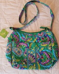 Vera Bradley Carryall Crossbody Bag, Emerald Paisley, NWT