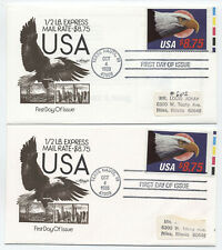1988 $8.75 express mail #2394 FDC pair of covers artmaster [y4286]