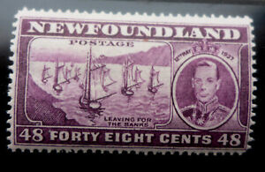 """NEWFOUNDLAND  #243 MINT NH (LEAVING FOR THE BANKS) PERF 14 """"1937 48 CENT cat.$16"""