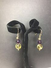 Genuine Crystal Earring - Citrine & Amethyst, & 14K Gold Filled Ear Wire