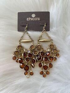 NWT Chico's Gold Tone Chandelier Drop Pierced Earrings