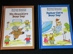 RICHARD SCARRY BUSY DAY BOOKS x 2~MR GRONKLE'S~FATHER CAT'S~HARDCOVER~1997