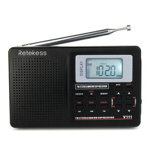Shortwave Radio FM Portable Digital Radio Stereo Voice Battery For Hiking For US