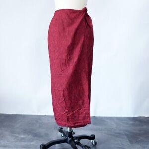 NWT Lauren Ralph Lauren Women's Wrap Skirt 2P Red Midi New Preppy Mod Boho Beach