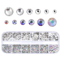 AB Color Nail Art Clear Rhinestone Flat Bottom Multi-size 3D Decoration DIY Tips