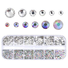 AB Color Clear Nail Art Rhinestone Flat Bottom Multi Size Manicure 3d Decor Tool