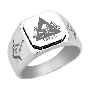 Stainless Steel Masonic Ring Master Mason Freemason Mystic Square Flat Top Ring